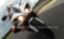 Tilted front shot of superbike on the run