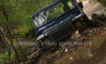 Land Rover going through water. Client: Crieff Hydro Hotel