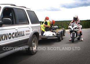 Filming track action from van pulled trailer - Knockhill Raceway