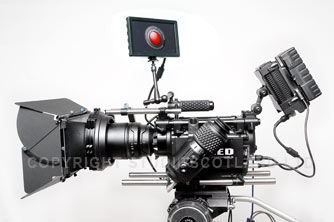 Left side of RED MX fitted with EVF, mattbox, drive, battery and LCD display.