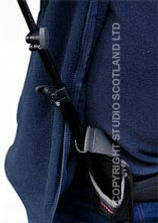 The hydraulic stick nestles securely into the reinforced pocket.