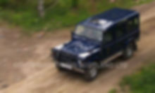 High angle of moving Land Rover Discovery