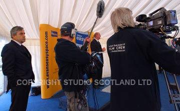 Studio Scotland crew filming interview as Prime Minister Gordon Brown looks on