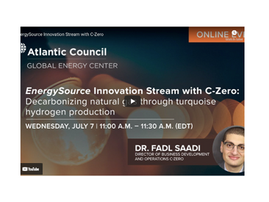 EnergySource Innovation Stream with C-Zero: Decarbonizing natural gas through turquoise hydrogen