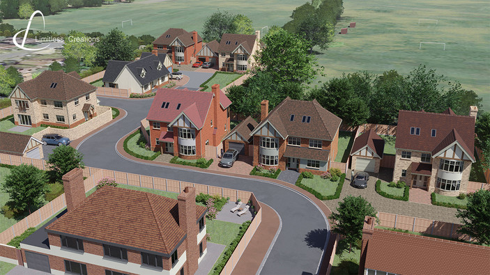 3D visualization of a propertly development from and aerial view by Limitless Creations, Essex