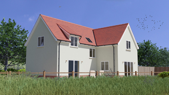 3D exterior illustration of new development near Colchester Essex
