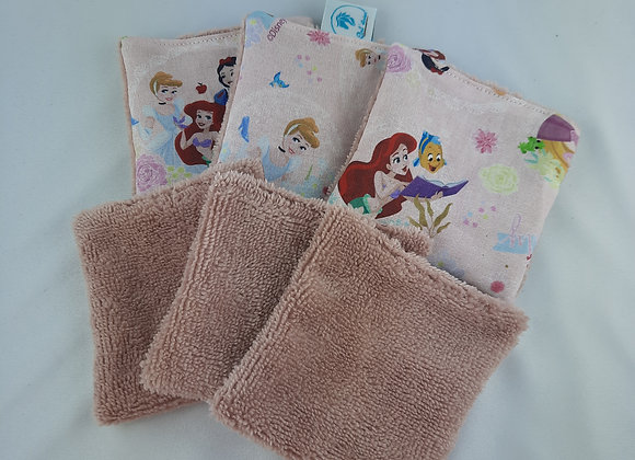 Lot de 6 lingettes réutilisables princesses