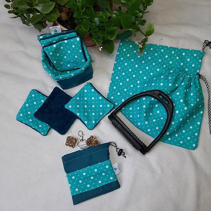 Box bleu à pois