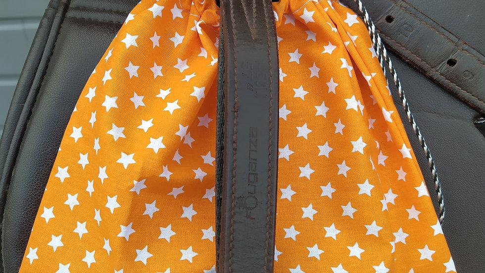 Pochettes d'étriers orange étoiles