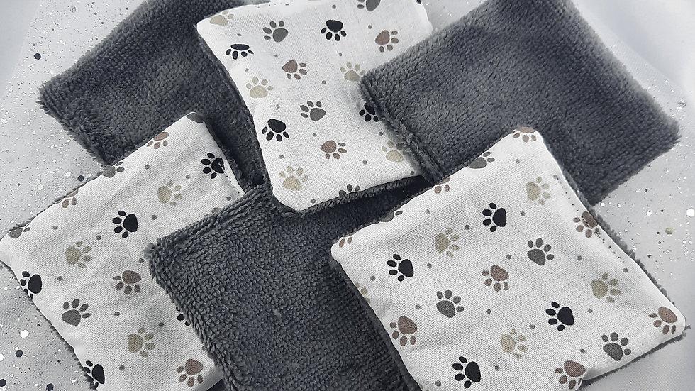 6 lingettes réutilisables pattes de chien