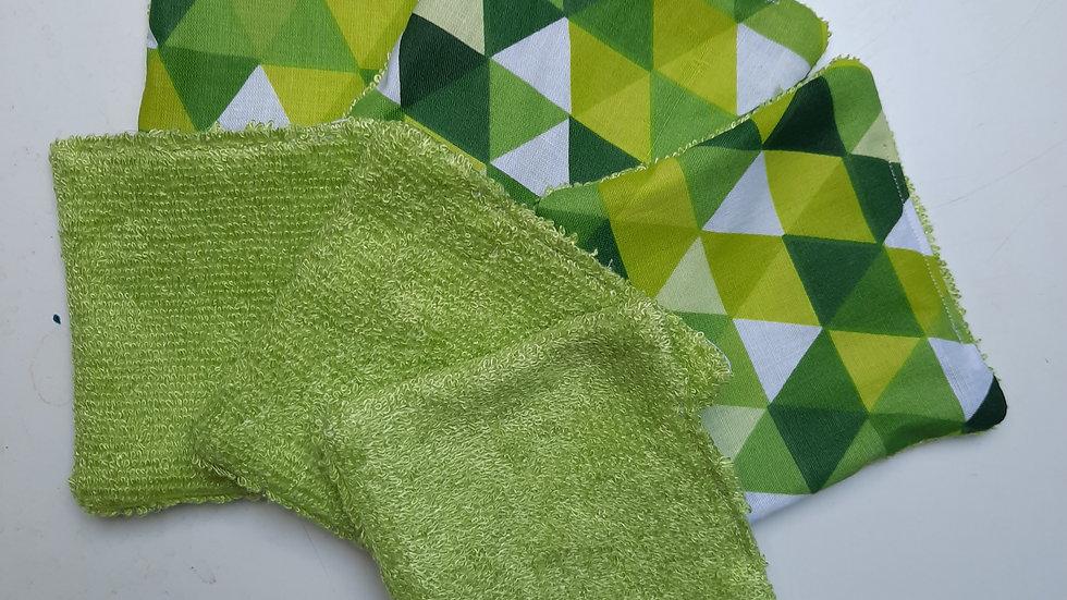 Lingettes réutilisables triangles verts