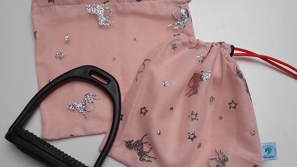 Pochettes d'étriers rose licornes argenté