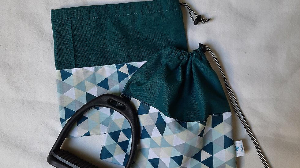 Pochettes d'étriers bleu triangles
