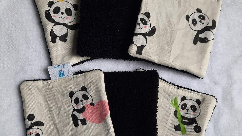 6 lingettes réutilisables panda