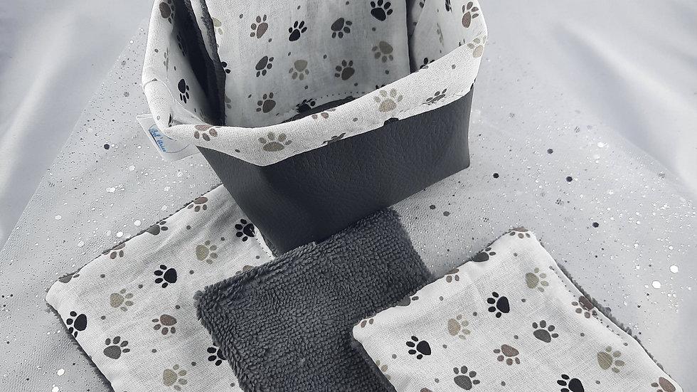 Panière et 6 lingettes réutilisables pattes de chien