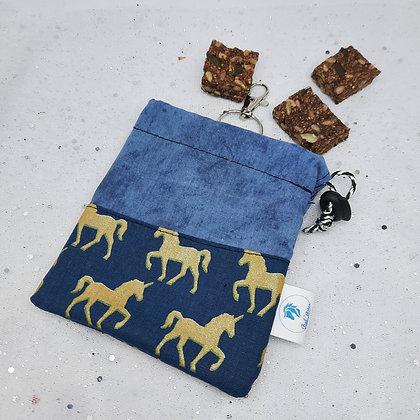 Pochette à friandises licornes bleu or