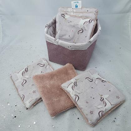 Panière et 6 lingettes réutilisables licornes mauve