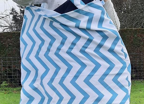 Sac à tapis zig zag bleu et blanc