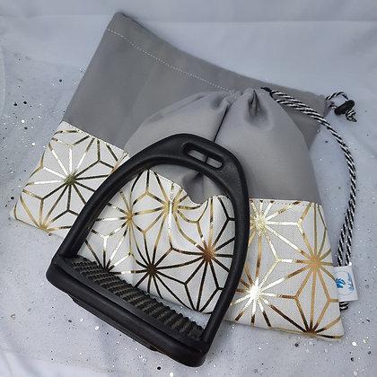 Pochettes d'étriers imperméable or et gris