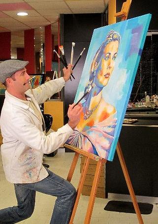 artiste peintre olivier boutin dans son atelier