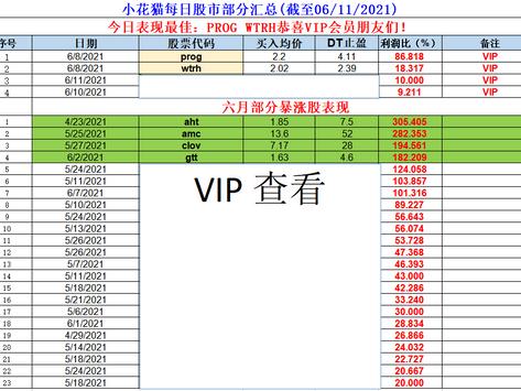 小花猫每日股市部分汇总(截至06/11/2021)