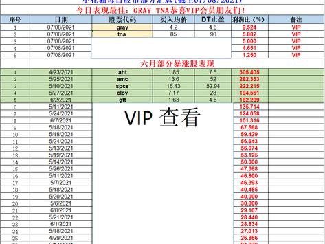 小花猫每日股市部分汇总(截至07/08/2021)