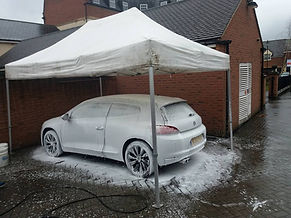 Snow foam under canopy