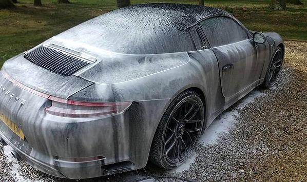 Porsche with snow foam