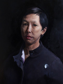 Woman with badge