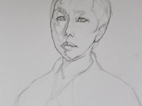 Portrait drawing of Frances