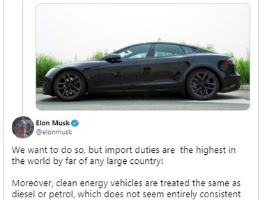 Import duties in India 'Highest in the world' Elon Musk Tweeted on Tesla's entry to India