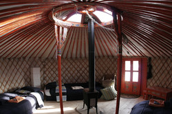 Inside the yurt.