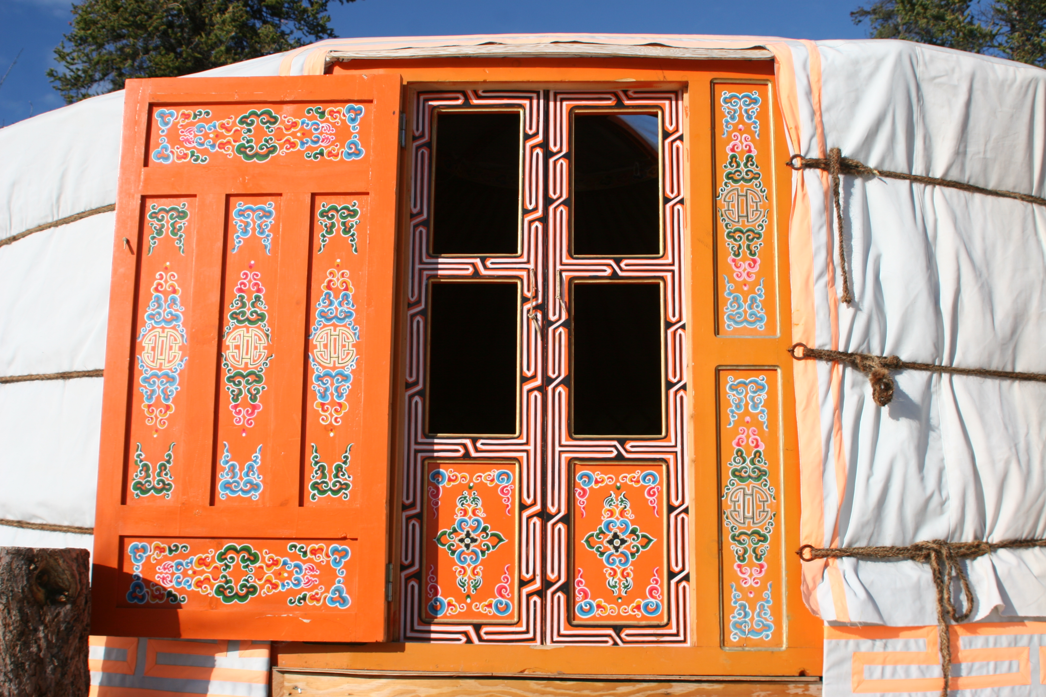 Traditionally hand painted doors.