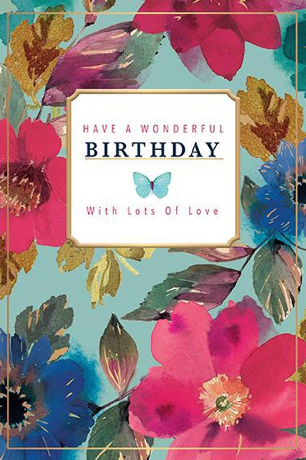 Female Blank Birthday Card Have A Wonderful Birthday With Lots Of Love