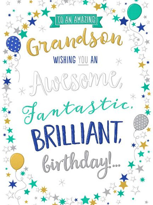 Amazing Grandson birthday card
