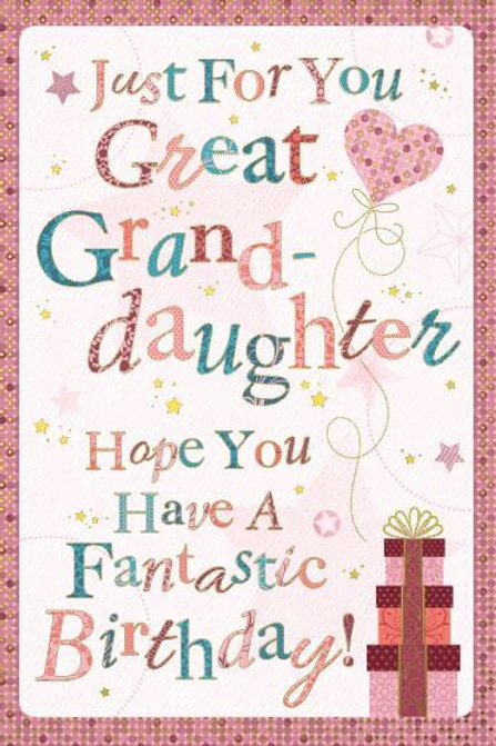 Great Granddaughter Birthday Card