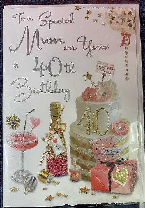 Mum 40th Birthday Card
