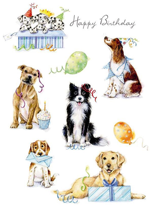 Birthday Card featuring dogs playing