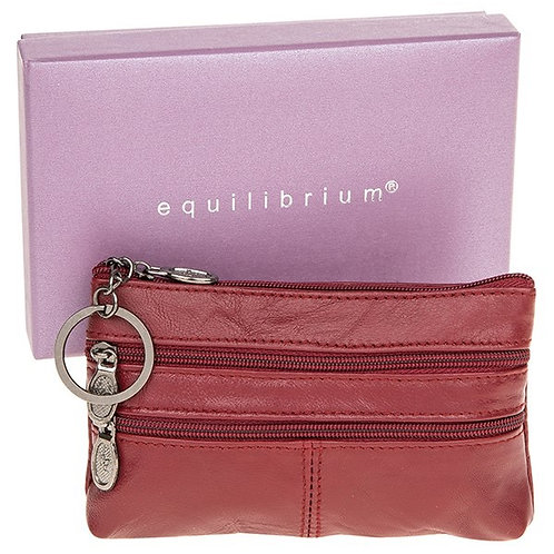 Equilibrium Leather Oblong Keyring Purse Burgundy