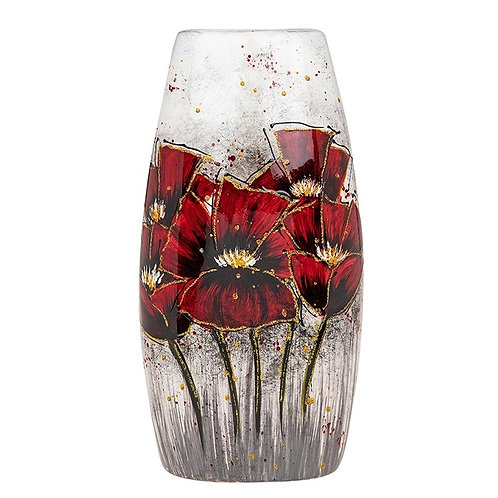 Bright Blooms Tall Flat Red Vase