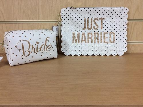 BRIDE'S Cosmetic / Makeup Bag & JUST MARRIED Toiletries Bag