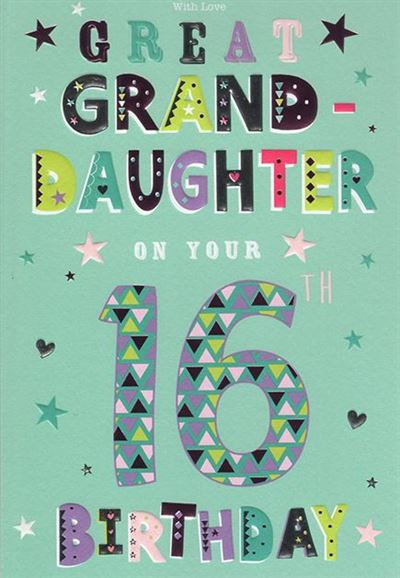 Great Granddaughter 16th Birthday Card