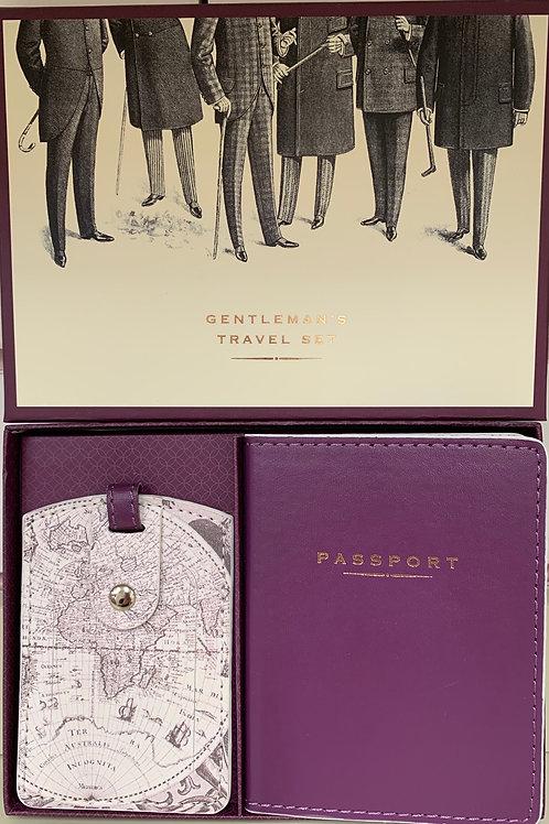 Gentleman's Travel Set Passport Holder & Luggage Label