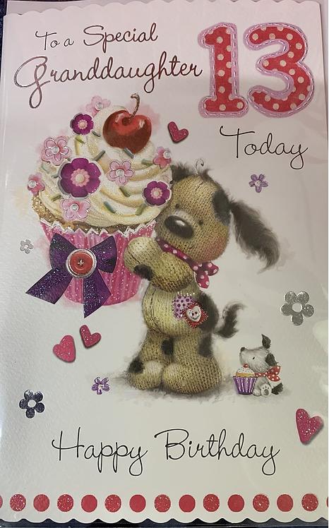 Granddaughter 13th Birthday Card