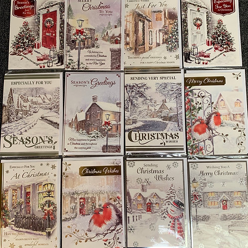 Pack of 12 Christmas Cards Assorted Designs