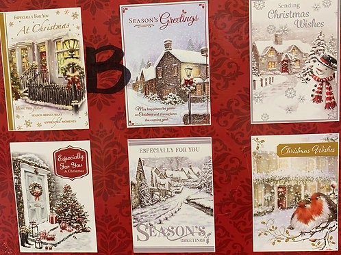 Pack of 6 Christmas Cards 2 designs Available