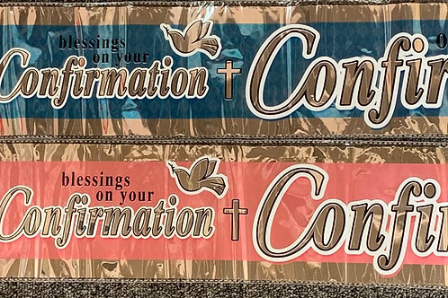 Blessings On Your Confirmation Day Banners Pink & Blue