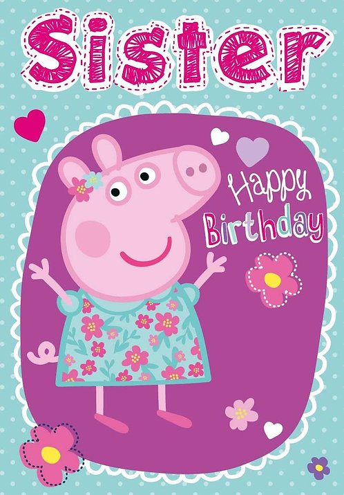 Peppa Pig Sister Birthday card