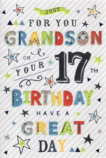 Grandson 17th Birthday Card