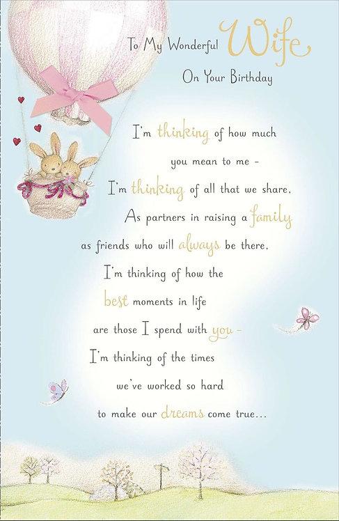 To my wonderful Wife on your birthday